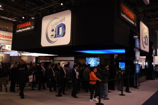 In 2011, many lined up to see Toshiba's Glasses-Free 3D Television set.