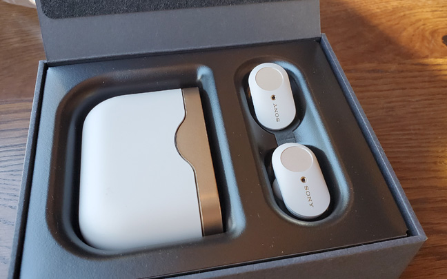 Sony's new earbuds come with a large charging case.